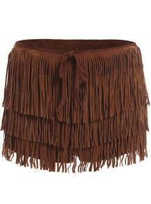 Brown Cascading Tassel Shorts