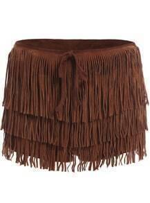Brown Cascading Tassel Shorts