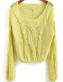 Neon Green Long Sleeve Cable Knit Crop Sweater