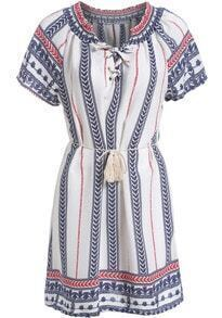 White Bandage Collar Tribal Print Dress