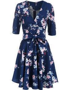 Blue V Neck Short Sleeve Floral Bow Dress