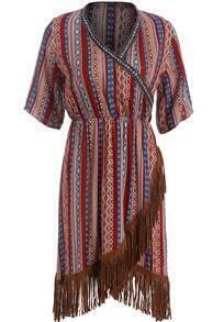 Red V Neck Tribal Print Tassel Dress