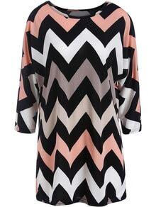 Black Round Neck Zigzag Print Loose Dress