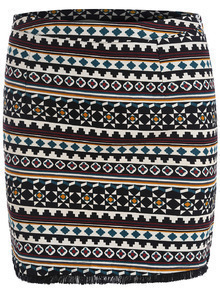 Black Tribal Geometric Print Bodycon Skirt