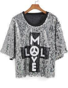 Silver Round Neck MLVE Sequined Blouse