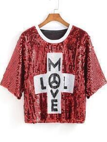 Red Round Neck MLVE Sequined Blouse