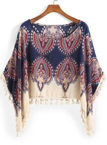 Blue Round Neck Tribal Print Tassel Top