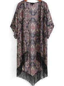 Black Half Sleeve Floral Tassel Dip Hem Kimono
