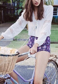 White V Neck Lace Insert Top With Flower Print Shorts