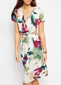 Multicolor Deep V Neck Hibiscus Florals Cutout Dress