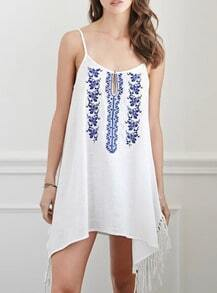 White Spaghetti Strap Embroidered Tassel Dress