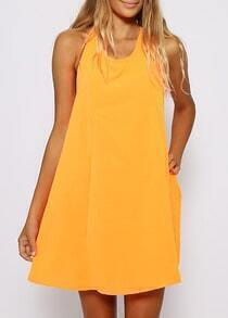 Yellow Halter Backless Shift Dress