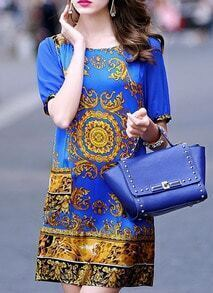 Blue Short Sleeve Vintage Print Dress