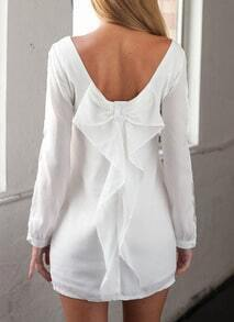 White Split Back Bow Dress