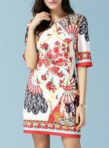 Multicolor Fan Print With Zipper Dress