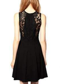 Black Lace Insert Soluble Flowers Dress