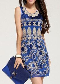 Blue Sleeveless With Sequined Dress
