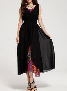 Black V Neck Florals Chiffon Dress