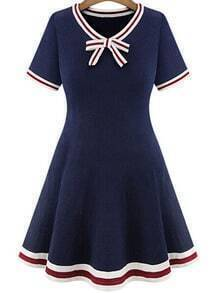 Blue With Bow Knit A-Line Dress