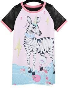 Pink Contrast Mesh Zebra Print Dress
