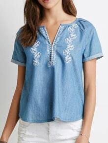 Blue V Neck Cuffed Blouse