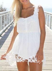 White Scoop Neck Floral Crochet Chiffon Romper