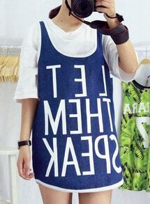 Blue Letter Print Tank Top