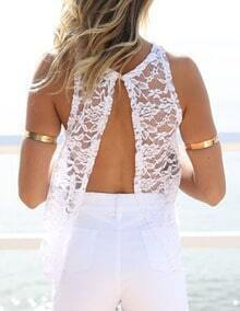 White Open Back Lace Tank Top