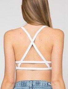 White Back Criss Cross Crop Lingerie