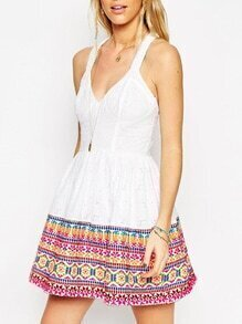 White Spaghetti Strap V Neck Tribal Print Dress