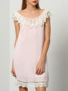 Pink Sleeveless With Lace Babydoll Dress