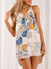 Apricot Spaghetti Strap Floral Print High Low Dress