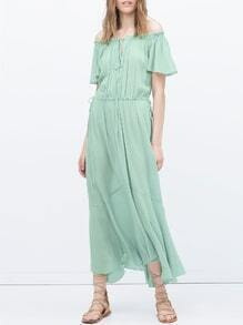Green Short Sleeve Off The Shoulder Maxi Dress