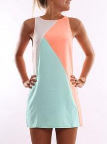 Orange Blue Sleeveless Color Block Dress