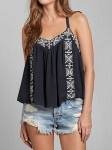 Black Spaghetti Strap Tribal Embroidered Tank Top