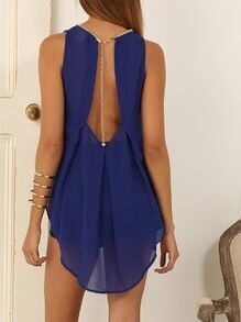 Blue Sleeveless Backless High Low Tank Top