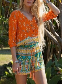 Orange Long Sleeve Vintage Print Playsuit
