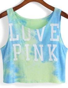 Green Round Neck LOVE PINK Print Crop Tank Top