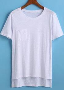 White Short Sleeve Pocket Dip Hem T-Shirt
