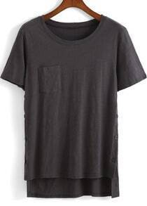 Grey Short Sleeve Pocket Dip Hem T-Shirt