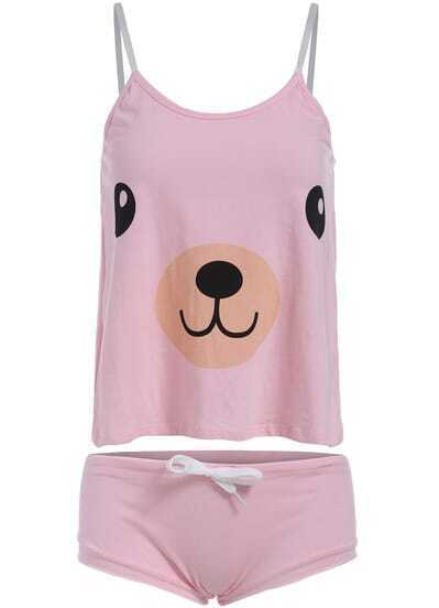 Pink Spaghetti Strap Bear Print Cami Top With Shorts