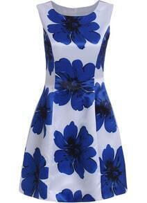 Blue Sleeveless Floral Slim Flare Dress