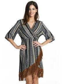 Black V Neck Tribal Print Tassel Dress