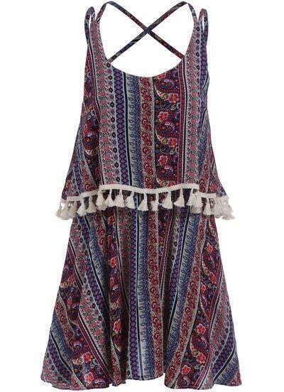 Multicolor Criss Cross Back Tribal Print Dress