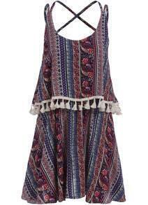 Multicolor Criss Cross Back Tribal Print Dress