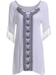White V Neck Half Sleeve Tassel Embroidered Dress