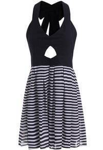 Black Halter Bow Hollow Striped Dress
