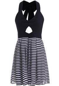 Black Halter Bow Hollow Striped Dress