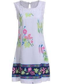 White Round Neck Sleeveless Floral Slim Dress
