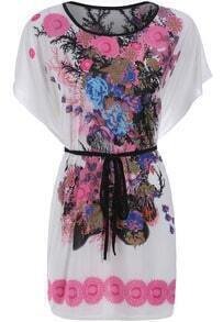 Red Batwing Sleeve Floral Tie-waist Dress